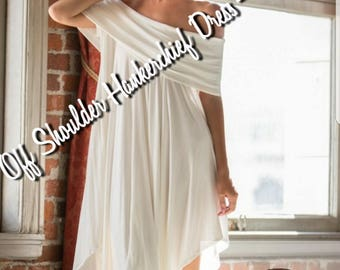 Off White Off Shoulder Handkerchief Dress