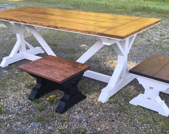 Mini Trestle Style Bench/Chairs