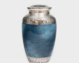 Adult Sized Deep Blue Cremation Urn Holds 200lb Adult