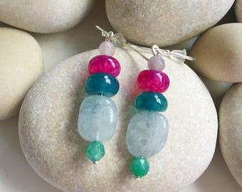 Earrings Sterling silver, aquamarine and jade.