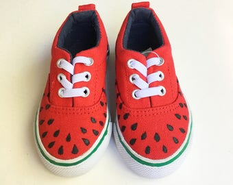 Watermelon hand-painted shoes.