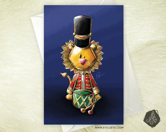 Christmas new year Lion Nutcracker greeting card