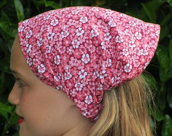 KERCHIEF/scarf cotton flower print pink and white for girl