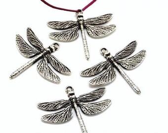 Metal ZAMAK - Dragonfly (44mm) - antique silver pendant