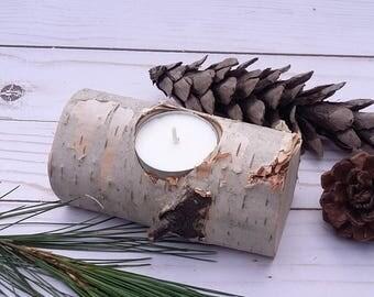 Rustic Birch Log Tea Light Candle Holder, Natural Birch Log, Cabin Decor, Wedding Decor, Center Piece, Christmas, Hand Made