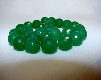Green aventurine round faceted 12 mm. Semi-precious stones.