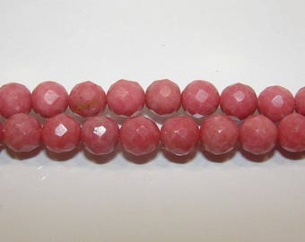 Rhodonite 8 mm faceted ball. Semi - precious stone