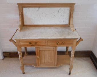 Victorian washstand old pine marble top and back with cupboard, 2 drawers, shelf