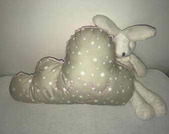 Cushion cloud/beige and pink/stars/hand embroidered / personalized