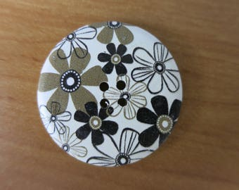 Large button 40 mm khaki/black/white floral