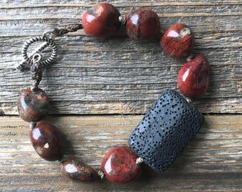 Red Jasper & Lava Stone Diffuser Bracelet