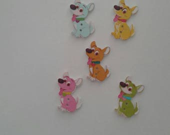 5 wooden 2 hole dog buttons in assorted colours  - sewing, knitting, crochet, card making, papercrafting, scrapbooking - pets