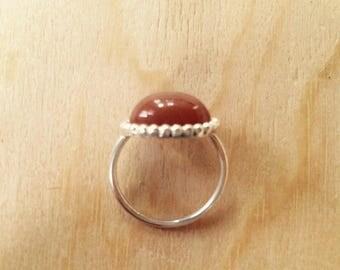 orange Moonstone 925 Silver ring
