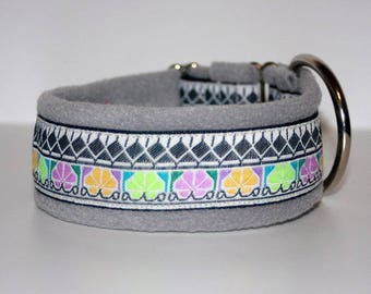 Dog collar #Retro TV style# Jacquard ribbon with unique colourful pattern, Elegant design for Pet accessories fashion