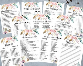 12 Boho Floral Floral Bachelorette Party Games, Printable  Bridal Shower Game, Bachelorette Party Game, Hens Night Game