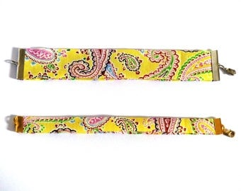 Yellow Paisley fabric bracelet