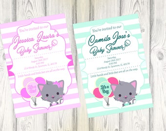 Cute Little Kitty Baby Shower Invitation