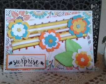 "Card ""a surprise just for you"" colorful"