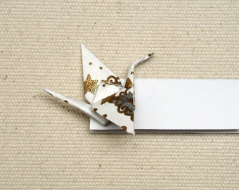 Set of 6 place cards with white and gold Christmas