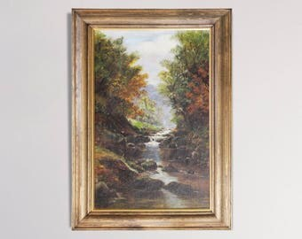 Continental River Scene - Vintage Oil Painting