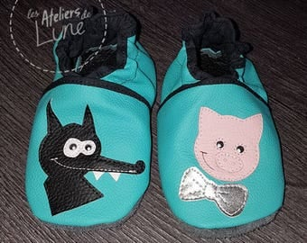 """soft booties leather """"three little pigs"""""""