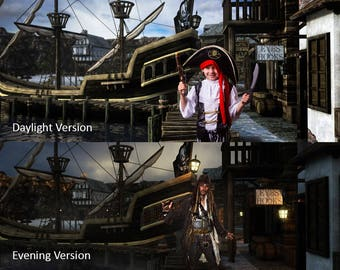 Pirate Digital Backdrops, Pirate Backgrounds, Pirate Cosplay Backdrop, Pirate Digital Background, Boys Party Backdrop, Pirate Ship Backdrop