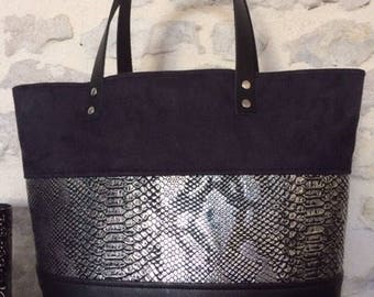 Grey and Black Suede and leather tote bag