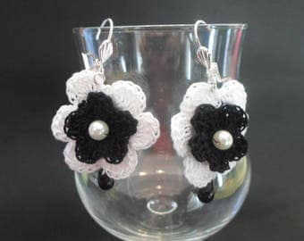 Black and white earring with hook