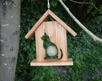 Feeder bird motif cat wooden garden