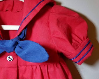 Infant dress-SIZE 1T-red navy- sailor-middy dress-100% cotton-ready to ship
