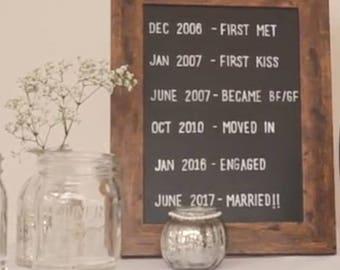 Personalised relationship timeline chalk wedding sign