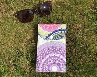 Etuis à lunettes en tissu à motifs multicolores et pression de fermeture
