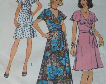 Women's, Misses' Front Wrap Dress Pattern, Vintage Simplicity 6099, Size 10 - CoPA Pattern circa 1970
