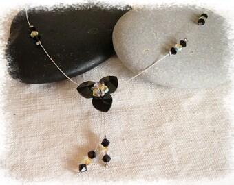 Necklace three black swarovski crystal hearts