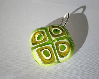 Green tones and transparent glass pendant