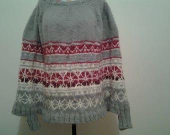 jacquard winter women sweater/poncho Nordic style