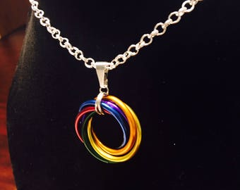 Gay Pride Chainmaille Necklace, LGBT, Gay Pride