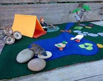 Felt Play Mat, Play Mat, Toddler Play Mat, Camping play mat