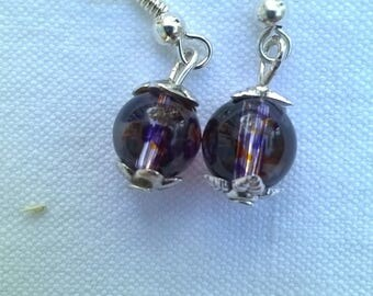 Silver Pearl Earrings glass crystal transparent orange and purple
