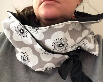snood scarf women scarf, black, grey and white