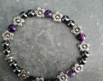 unique bracelet in Pearl black hematite and purple agate
