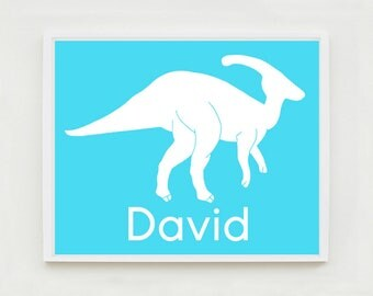 Dinosaur Art Print, Kids, Customize with Name, Personalized Nursery Art, Wall Art Print, Dinosaur Bedroom, Parasaurolophus