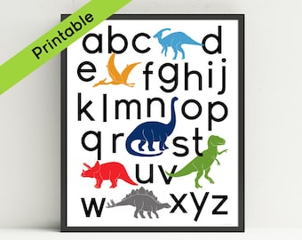 Printable Dinosaur Alphabet  Poster, Dinosaur Nursery Art, Dinosaur Kids Wall Art, ABC, Instant download