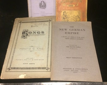 Lot of five interesting small book/pamphlets dating from the late 1800s through 1917