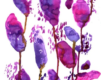 Original Ink painting A4, abstract flower/tulip design, pink and purple meadow