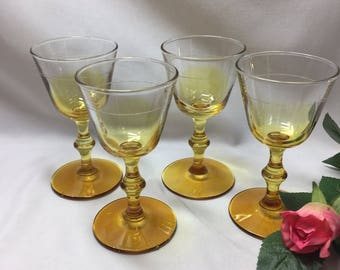 Small Wine Cordial Glasses Yellow Ombre Vintage Libbey Rock Sharpe Georgian Amber