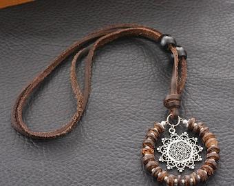 Vintage Yoga Wooden Beaded Metal Pendant Necklace