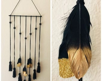 Tassel Wall Hanging with Feathers
