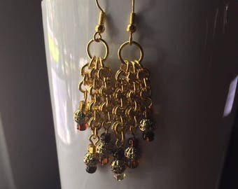 Gold and Bronze Dangle Earrings