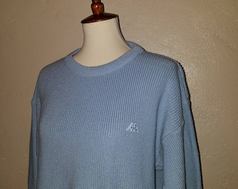 Vintage 70s/80s Robe Di Kappa Light Blue Kappa Sweater ~ Wool/Acrylic ~ Soccer/ futbol ~ Large 42 Made in Italy